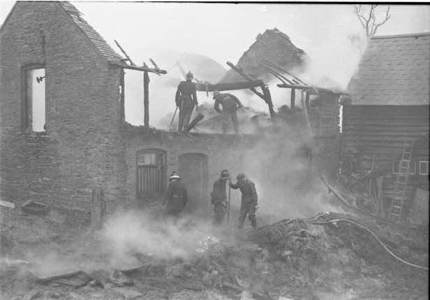 Farm fire at Bishops Frome 10 2 1966
